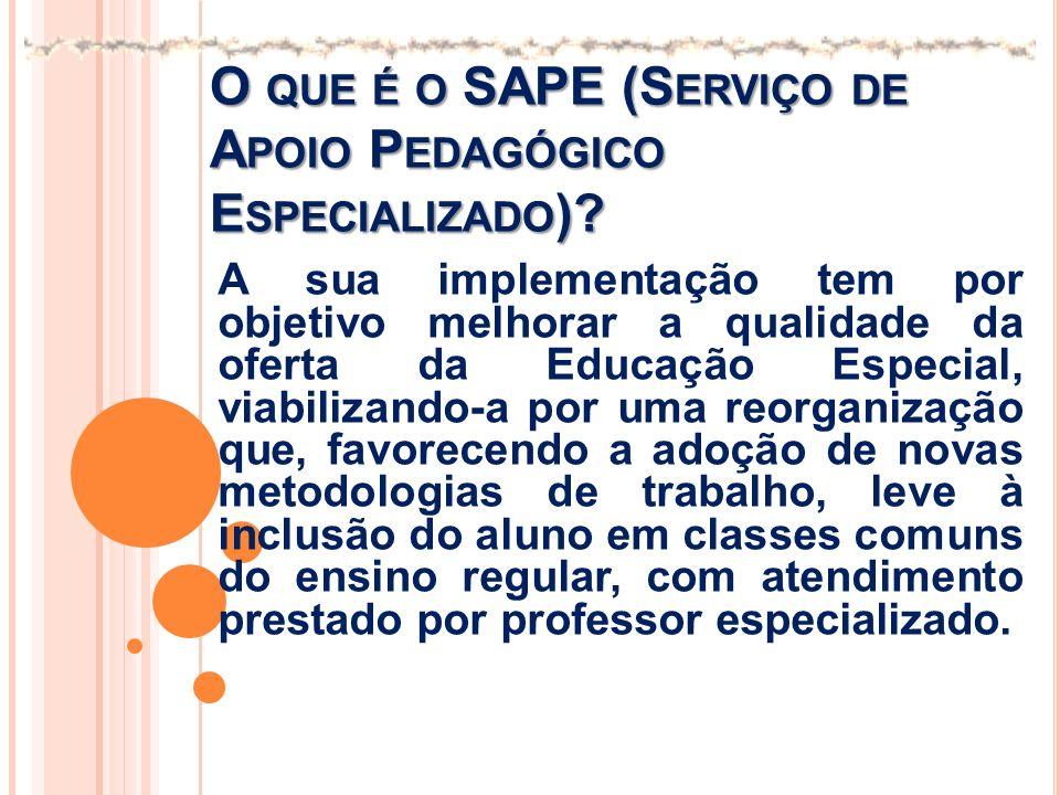 O QUE É O SAPE (S ERVIÇO DE A POIO P EDAGÓGICO E SPECIALIZADO )? A sua implementação tem por objetivo melhorar a qualidade da oferta da Educação Espec