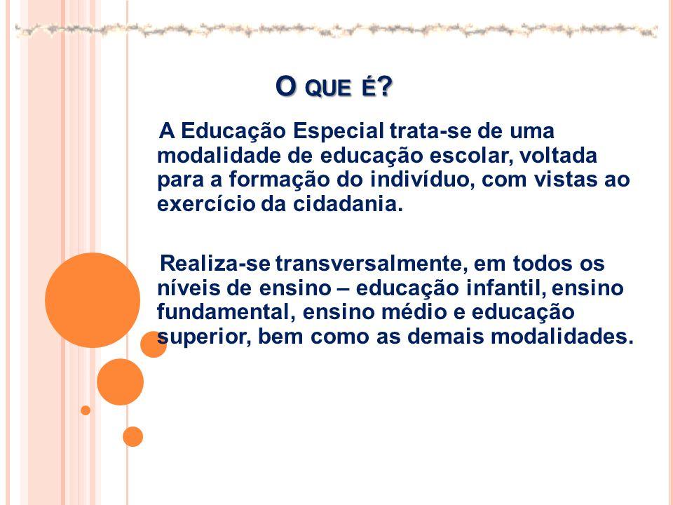 O QUE É ? A Educação Especial trata-se de uma modalidade de educação escolar, voltada para a formação do indivíduo, com vistas ao exercício da cidadan