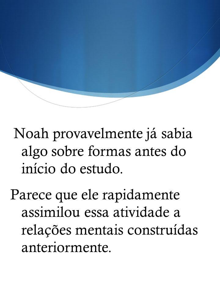 Noah provavelmente já sabia algo sobre formas antes do início do estudo. Parece que ele rapidamente assimilou essa atividade a relações mentais constr