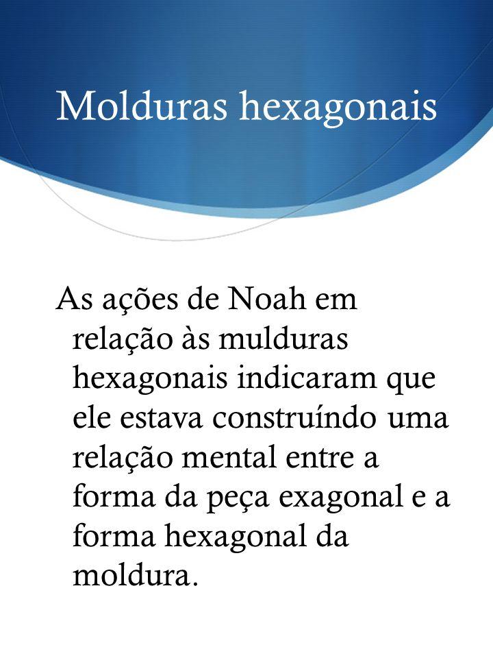 Molduras hexagonais As ações de Noah em relação às mulduras hexagonais indicaram que ele estava construíndo uma relação mental entre a forma da peça e