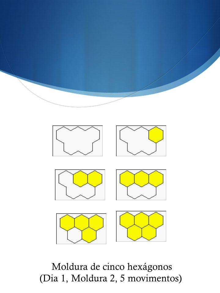 Moldura de cinco hexágonos (Dia 1, Moldura 2, 5 movimentos)