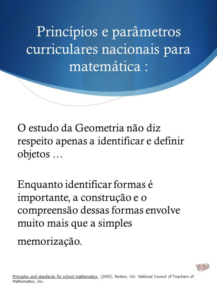 Princípios e parâmetros curriculares nacionais para matemática : O estudo da Geometria não diz respeito apenas a identificar e definir objetos … Enqua