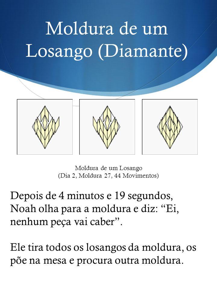 Moldura de um Losango (Diamante) Depois de 4 minutos e 19 segundos, Noah olha para a moldura e diz: Ei, nenhum peça vai caber. Ele tira todos os losan