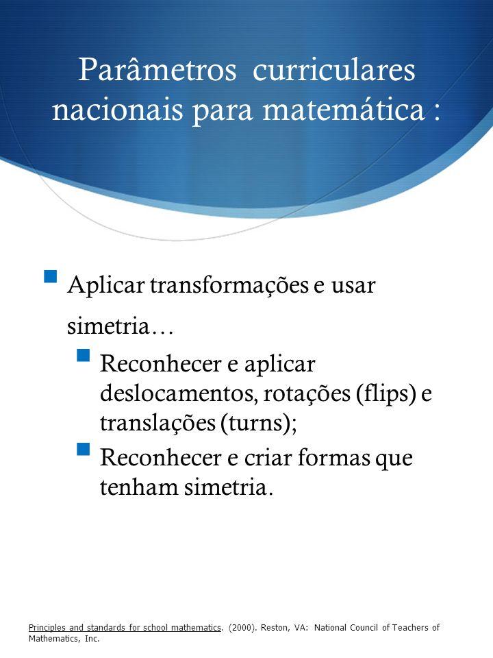 Parâmetros curriculares nacionais para matemática : Principles and standards for school mathematics. (2000). Reston, VA: National Council of Teachers