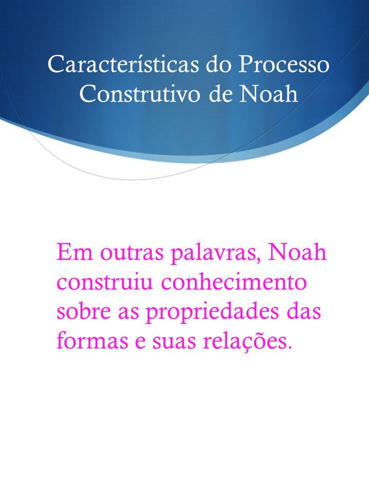 Características do Processo Construtivo de Noah Em outras palavras, Noah construiu conhecimento sobre as propriedades das formas e suas relações.