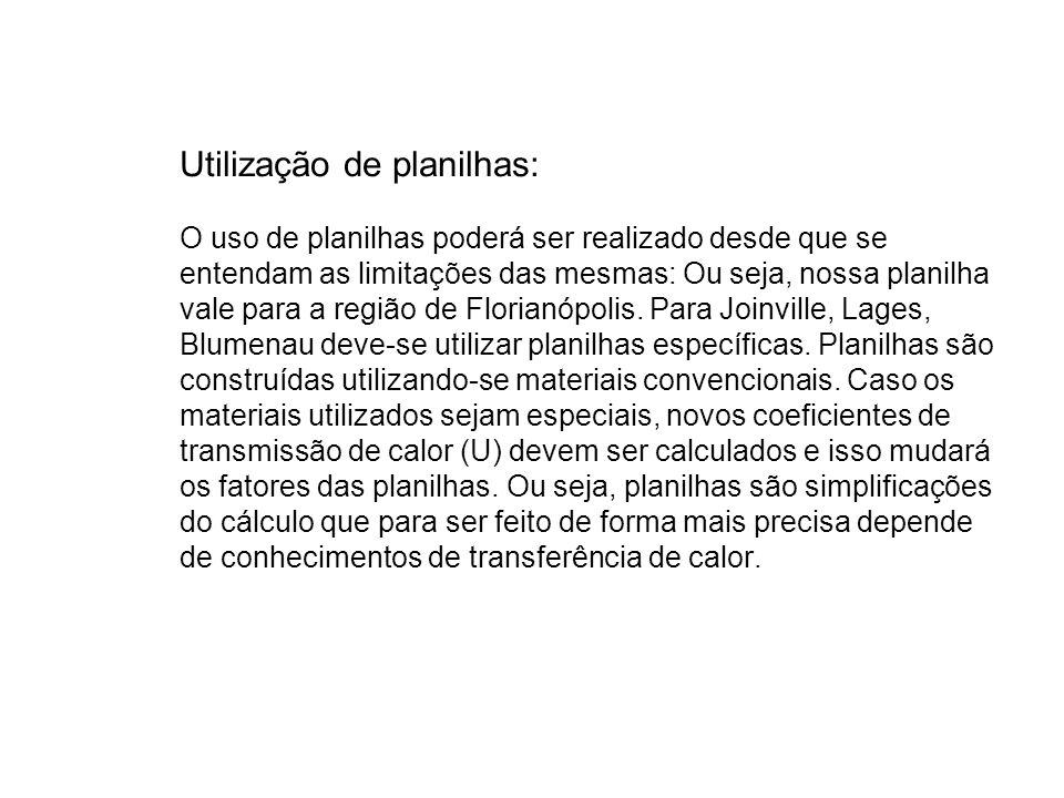 Utilização de planilhas: O uso de planilhas poderá ser realizado desde que se entendam as limitações das mesmas: Ou seja, nossa planilha vale para a região de Florianópolis.