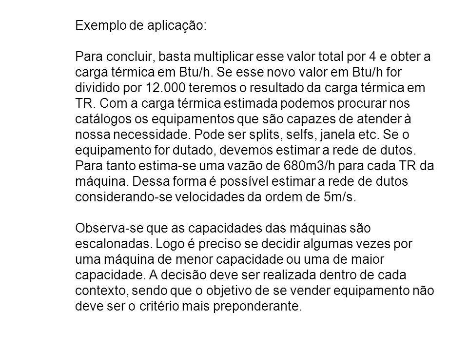 Exemplo de aplicação: Para concluir, basta multiplicar esse valor total por 4 e obter a carga térmica em Btu/h.