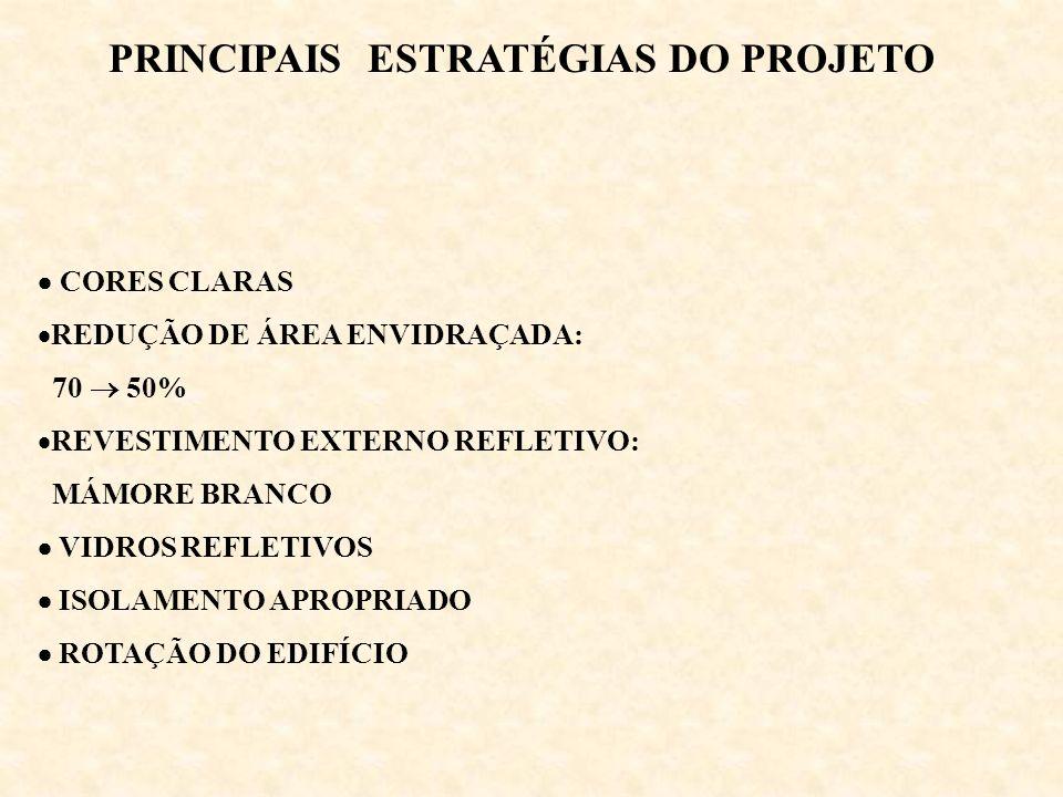 CORES CLARAS REDUÇÃO DE ÁREA ENVIDRAÇADA: 70 50% REVESTIMENTO EXTERNO REFLETIVO: MÁMORE BRANCO VIDROS REFLETIVOS ISOLAMENTO APROPRIADO ROTAÇÃO DO EDIF