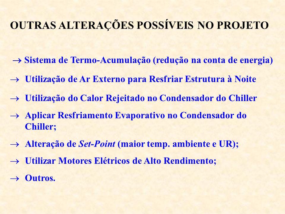 OUTRAS ALTERAÇÕES POSSÍVEIS NO PROJETO Sistema de Termo-Acumulação (redução na conta de energia) Utilização de Ar Externo para Resfriar Estrutura à No