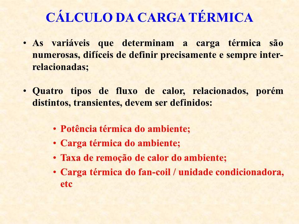 CÁLCULO DA CARGA TÉRMICA As variáveis que determinam a carga térmica são numerosas, difíceis de definir precisamente e sempre inter- relacionadas; Qua