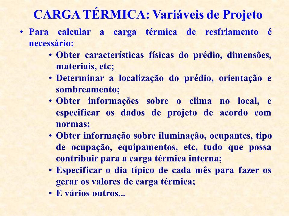 CARGA TÉRMICA: Variáveis de Projeto Para calcular a carga térmica de resfriamento é necessário: Obter características físicas do prédio, dimensões, ma