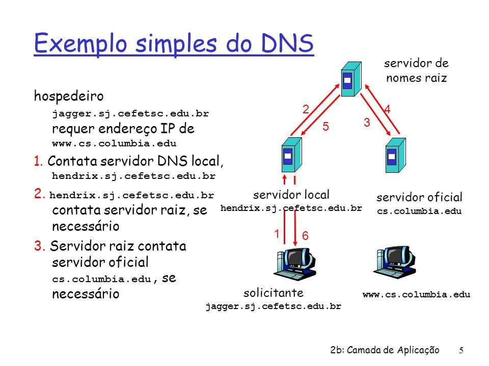 2b: Camada de Aplicação5 Exemplo simples do DNS hospedeiro jagger.sj.cefetsc.edu.br requer endereço IP de www.cs.columbia.edu 1. Contata servidor DNS