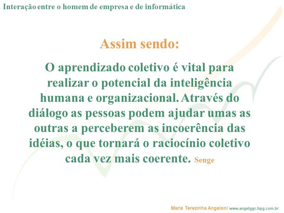 Maria Terezinha Angeloni www.angelggc.hpg.com.br Assim sendo: O aprendizado coletivo é vital para realizar o potencial da inteligência humana e organi