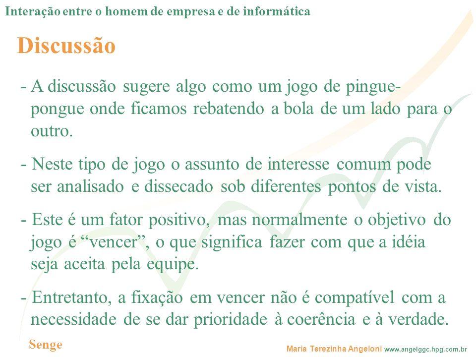 Maria Terezinha Angeloni www.angelggc.hpg.com.br Discussão - A discussão sugere algo como um jogo de pingue- pongue onde ficamos rebatendo a bola de u