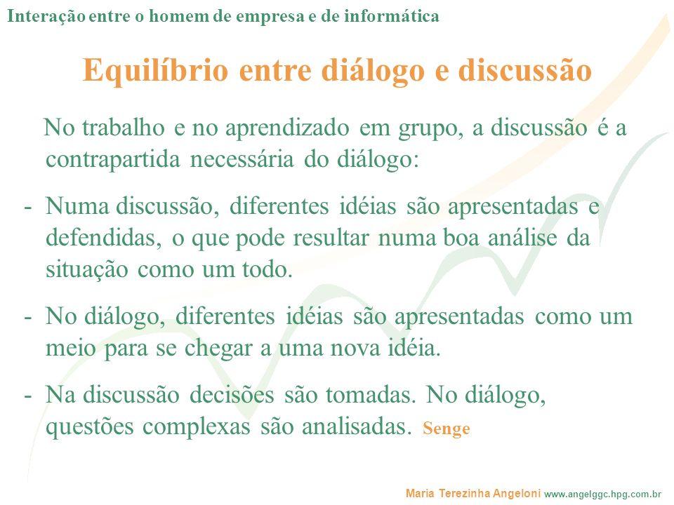 Maria Terezinha Angeloni www.angelggc.hpg.com.br Equilíbrio entre diálogo e discussão No trabalho e no aprendizado em grupo, a discussão é a contrapar
