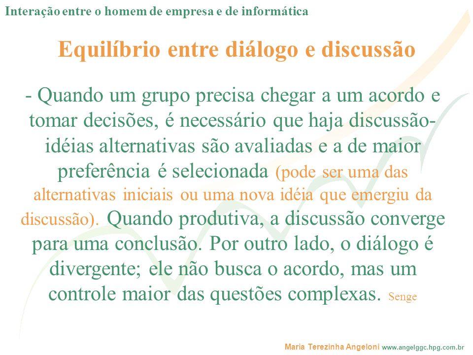 Maria Terezinha Angeloni www.angelggc.hpg.com.br Equilíbrio entre diálogo e discussão - Quando um grupo precisa chegar a um acordo e tomar decisões, é