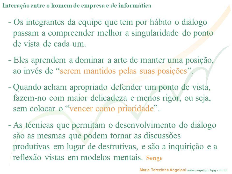 Maria Terezinha Angeloni www.angelggc.hpg.com.br - Os integrantes da equipe que tem por hábito o diálogo passam a compreender melhor a singularidade d