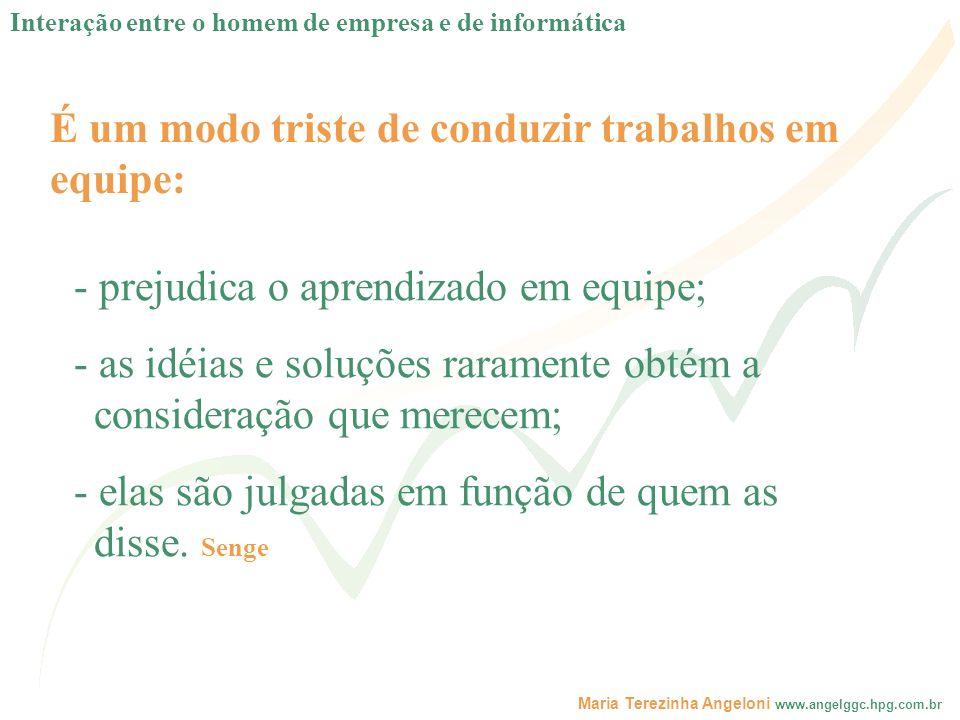 Maria Terezinha Angeloni www.angelggc.hpg.com.br É um modo triste de conduzir trabalhos em equipe: - prejudica o aprendizado em equipe; - as idéias e