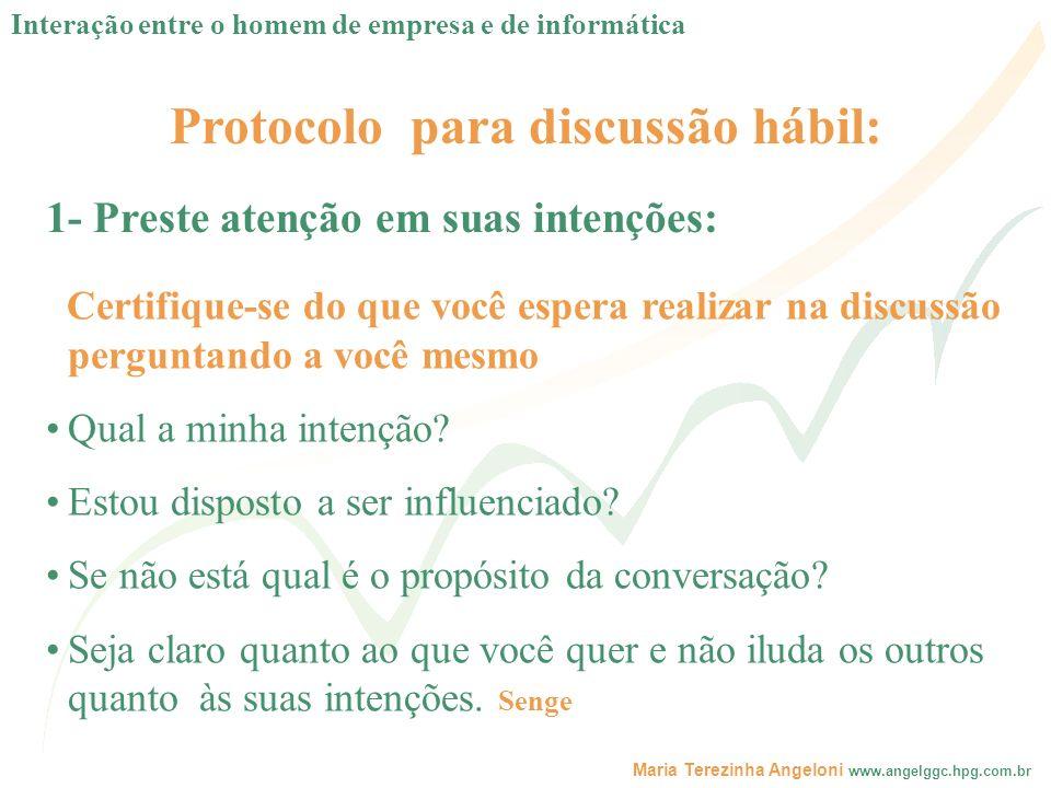 Maria Terezinha Angeloni www.angelggc.hpg.com.br Protocolo para discussão hábil: Certifique-se do que você espera realizar na discussão perguntando a