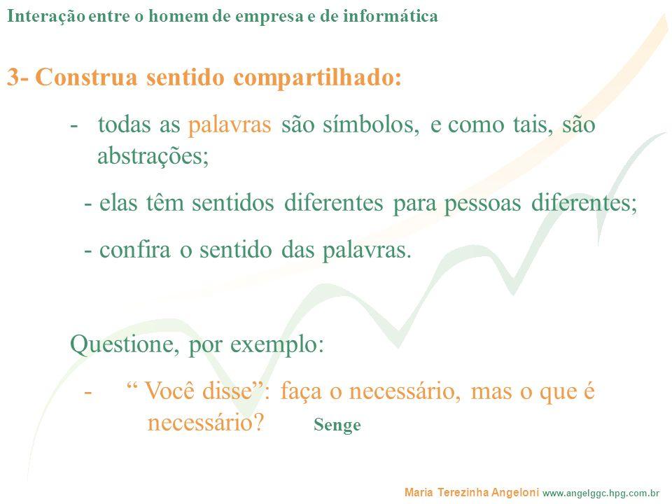 Maria Terezinha Angeloni www.angelggc.hpg.com.br 3- Construa sentido compartilhado: - todas as palavras são símbolos, e como tais, são abstrações; - e