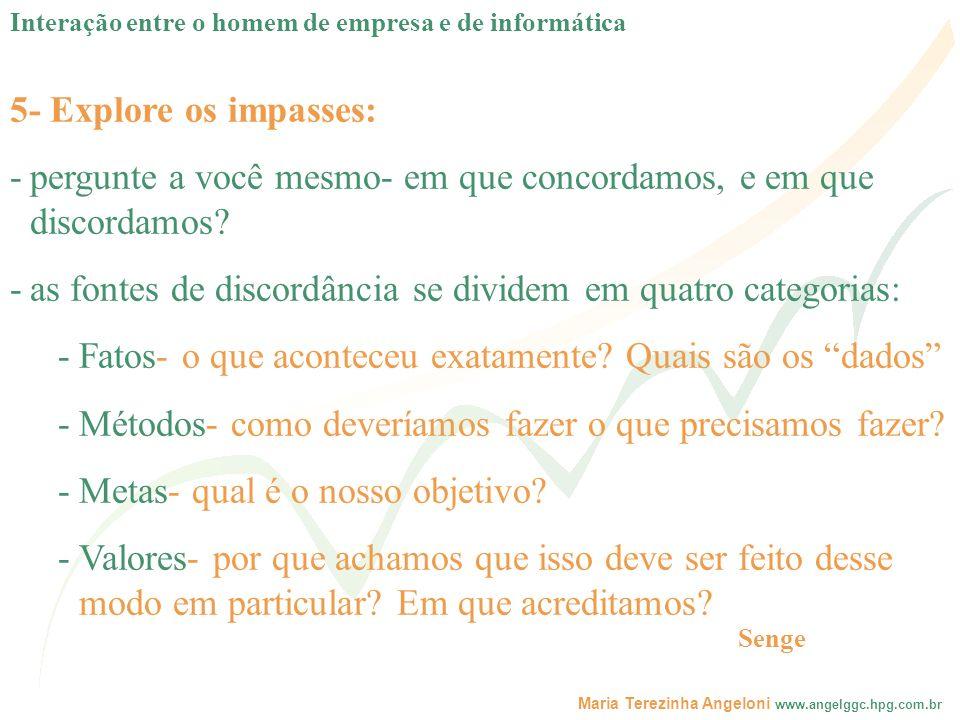 Maria Terezinha Angeloni www.angelggc.hpg.com.br 5- Explore os impasses: -pergunte a você mesmo- em que concordamos, e em que discordamos? -as fontes