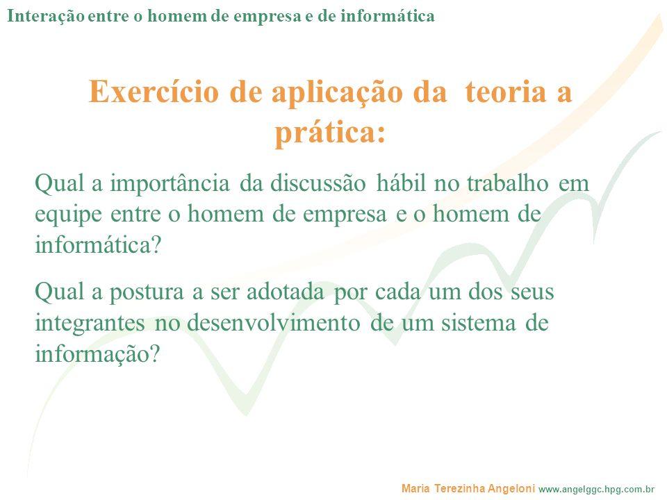 Maria Terezinha Angeloni www.angelggc.hpg.com.br Exercício de aplicação da teoria a prática: Qual a importância da discussão hábil no trabalho em equi