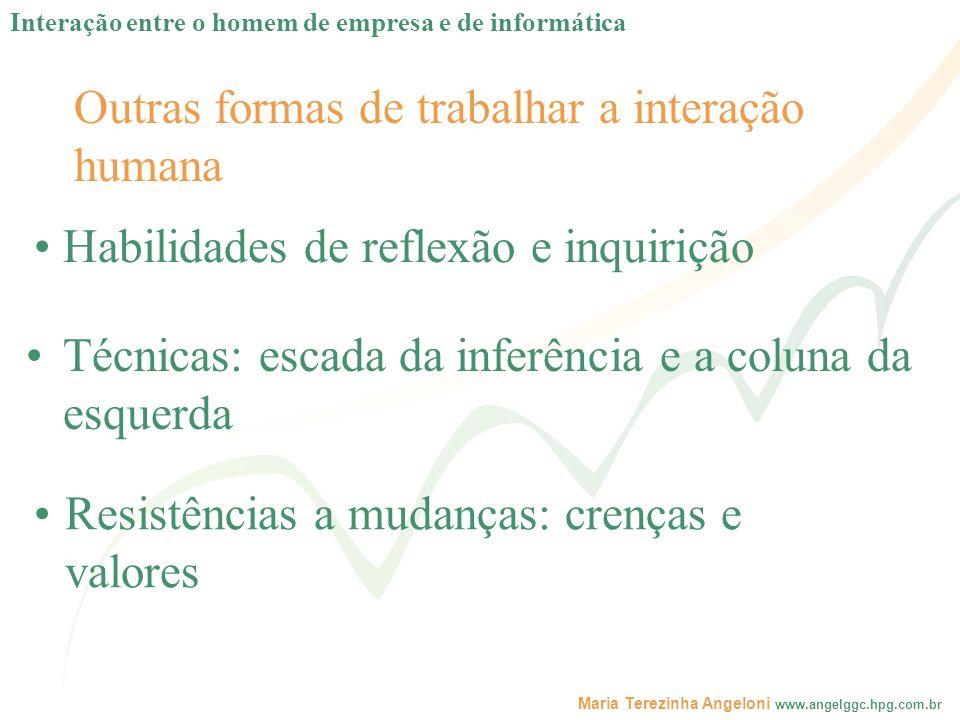 Maria Terezinha Angeloni www.angelggc.hpg.com.br Outras formas de trabalhar a interação humana Habilidades de reflexão e inquirição Técnicas: escada d