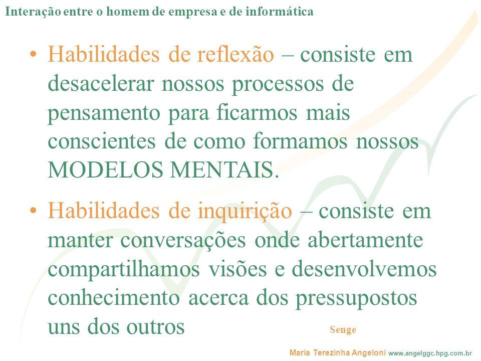 Maria Terezinha Angeloni www.angelggc.hpg.com.br Habilidades de reflexão – consiste em desacelerar nossos processos de pensamento para ficarmos mais c