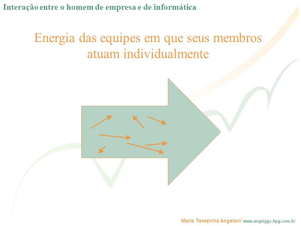 Maria Terezinha Angeloni www.angelggc.hpg.com.br Energia das equipes em que seus membros atuam individualmente Interação entre o homem de empresa e de
