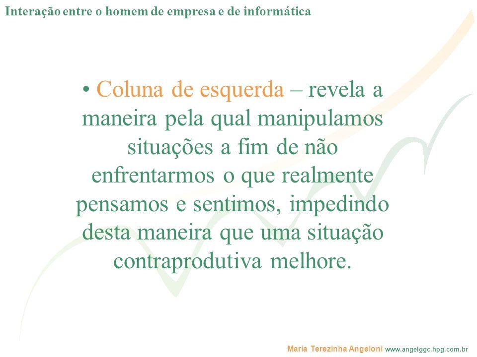 Maria Terezinha Angeloni www.angelggc.hpg.com.br Coluna de esquerda – revela a maneira pela qual manipulamos situações a fim de não enfrentarmos o que