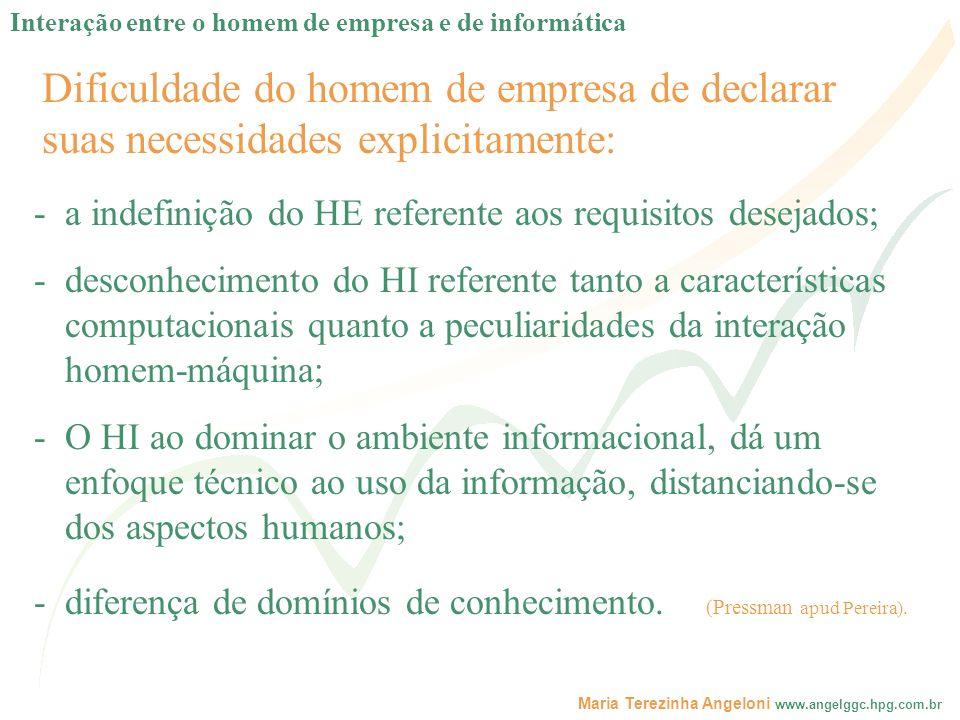 Maria Terezinha Angeloni www.angelggc.hpg.com.br Dificuldade do homem de empresa de declarar suas necessidades explicitamente: -a indefinição do HE re