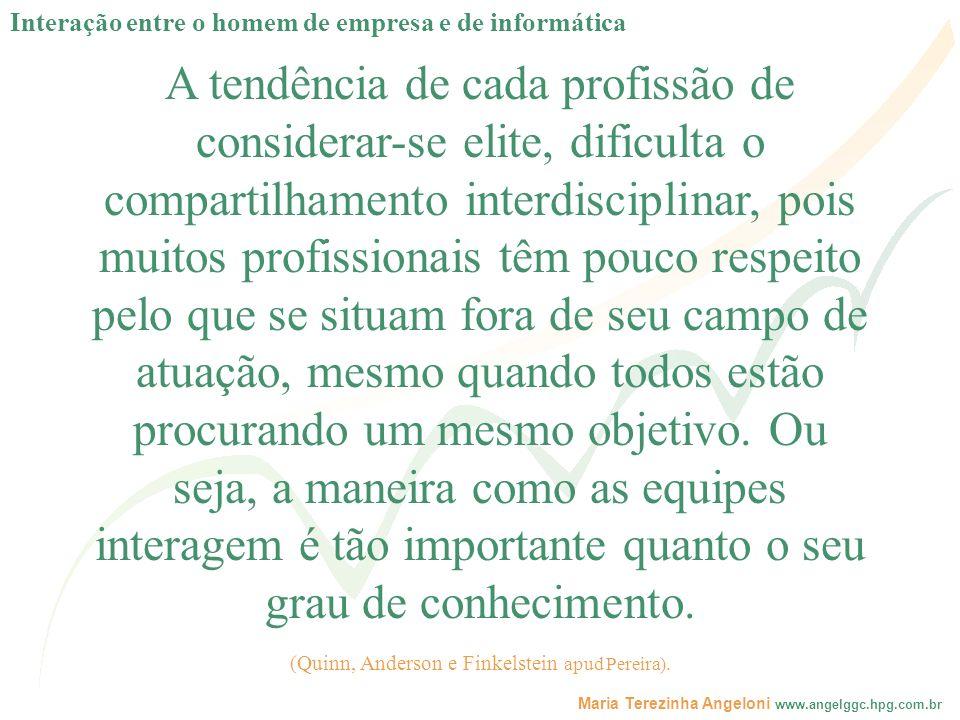 Maria Terezinha Angeloni www.angelggc.hpg.com.br A tendência de cada profissão de considerar-se elite, dificulta o compartilhamento interdisciplinar,