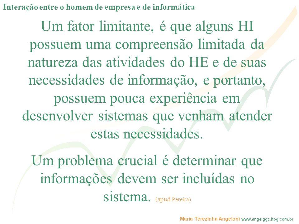 Maria Terezinha Angeloni www.angelggc.hpg.com.br Um fator limitante, é que alguns HI possuem uma compreensão limitada da natureza das atividades do HE