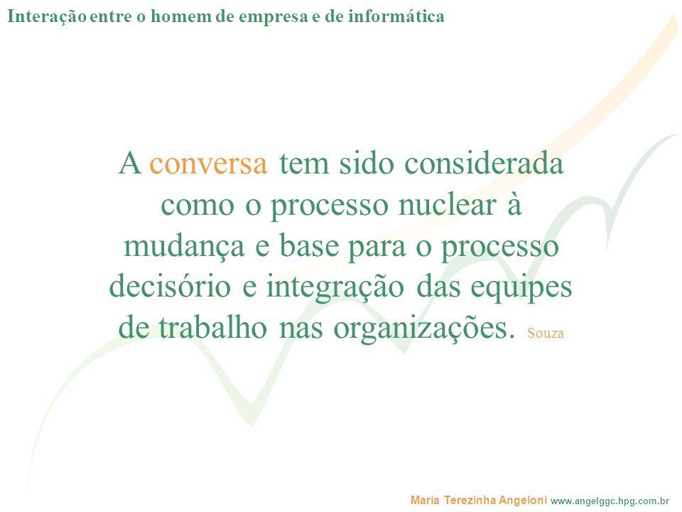 Maria Terezinha Angeloni www.angelggc.hpg.com.br A conversa tem sido considerada como o processo nuclear à mudança e base para o processo decisório e