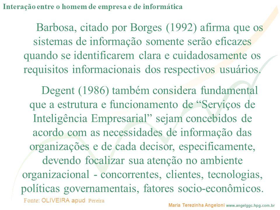 Maria Terezinha Angeloni www.angelggc.hpg.com.br Barbosa, citado por Borges (1992) afirma que os sistemas de informação somente serão eficazes quando