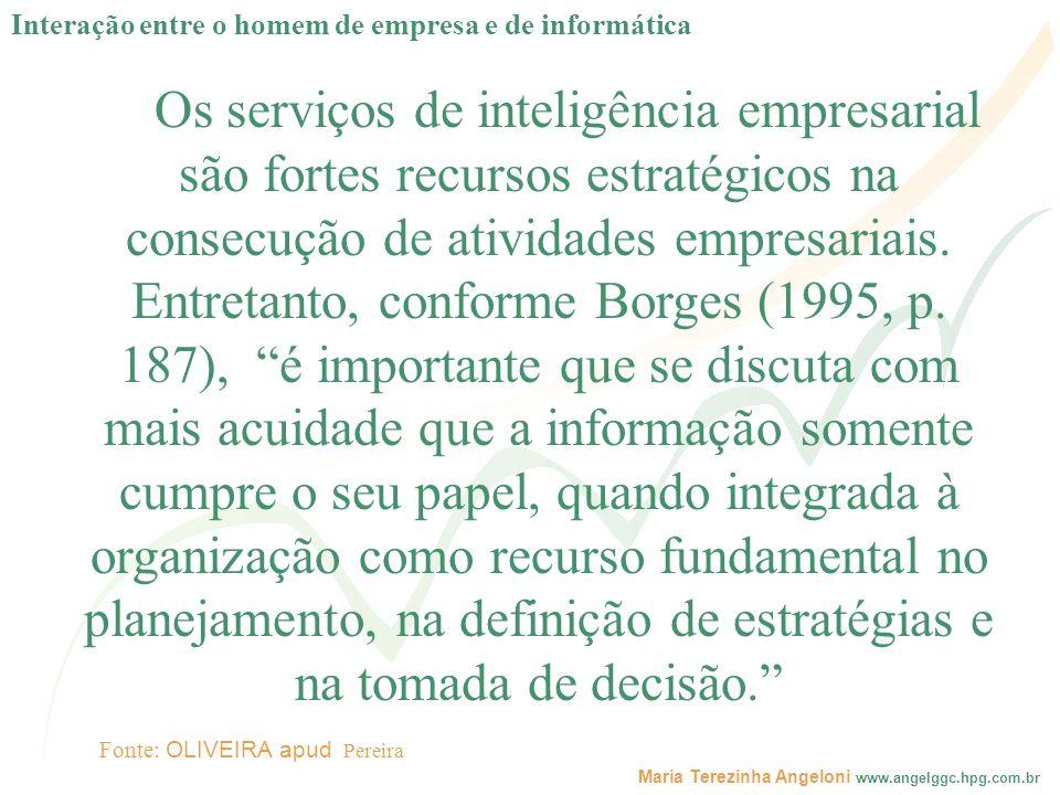 Maria Terezinha Angeloni www.angelggc.hpg.com.br Os serviços de inteligência empresarial são fortes recursos estratégicos na consecução de atividades