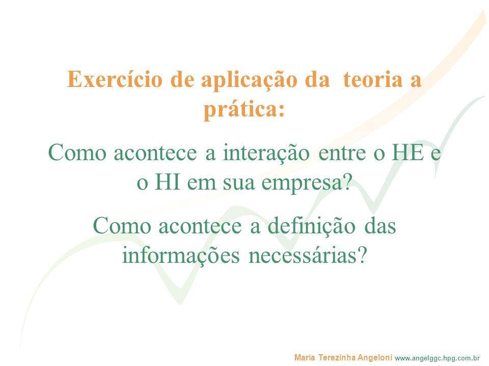 Maria Terezinha Angeloni www.angelggc.hpg.com.br Exercício de aplicação da teoria a prática: Como acontece a interação entre o HE e o HI em sua empres