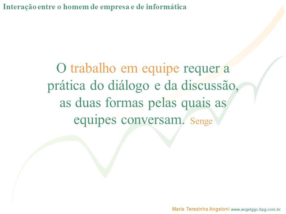 Maria Terezinha Angeloni www.angelggc.hpg.com.br O trabalho em equipe requer a prática do diálogo e da discussão, as duas formas pelas quais as equipe