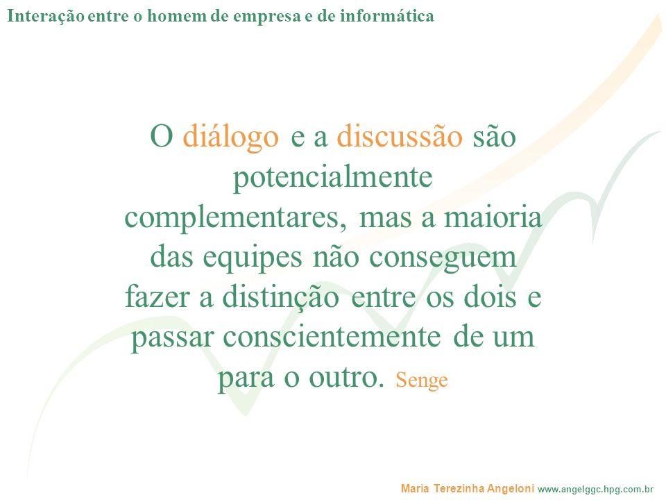 Maria Terezinha Angeloni www.angelggc.hpg.com.br O diálogo e a discussão são potencialmente complementares, mas a maioria das equipes não conseguem fa
