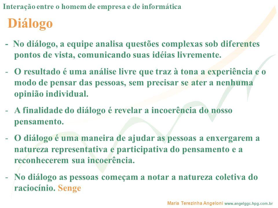 Maria Terezinha Angeloni www.angelggc.hpg.com.br Diálogo - No diálogo, a equipe analisa questões complexas sob diferentes pontos de vista, comunicando