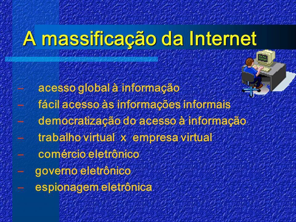 A massificação da Internet A massificação da Internet – acesso global à informação – fácil acesso às informações informais – democratização do acesso à informação – trabalho virtual x empresa virtual – comércio eletrônico –governo eletrônico –espionagem eletrônica