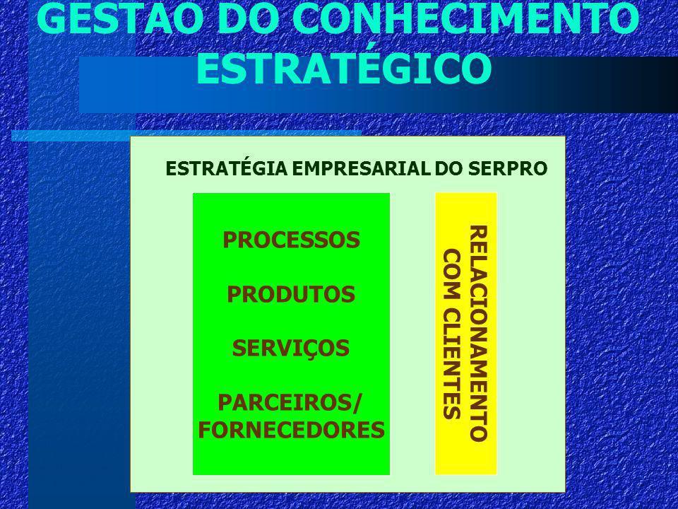 GESTÃO DO CONHECIMENTO ESTRATÉGICO PROCESSOS PRODUTOS SERVIÇOS PARCEIROS/ FORNECEDORES ESTRATÉGIA EMPRESARIAL DO SERPRO RELACIONAMENTO COM CLIENTES