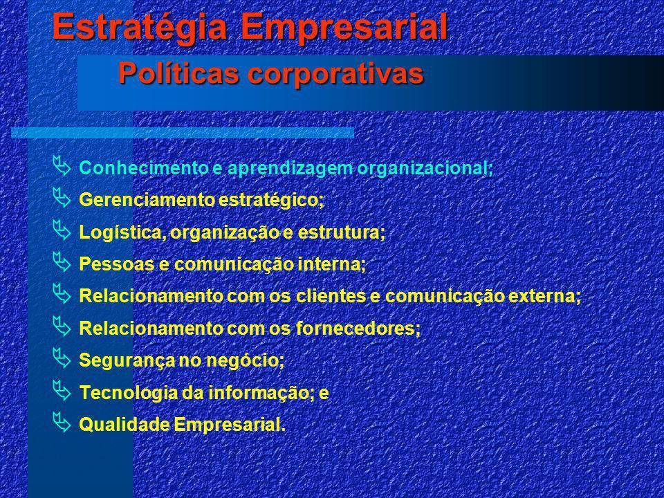 Conhecimento e aprendizagem organizacional; Gerenciamento estratégico; Logística, organização e estrutura; Pessoas e comunicação interna; Relacionamento com os clientes e comunicação externa; Relacionamento com os fornecedores; Segurança no negócio; Tecnologia da informação; e Qualidade Empresarial.
