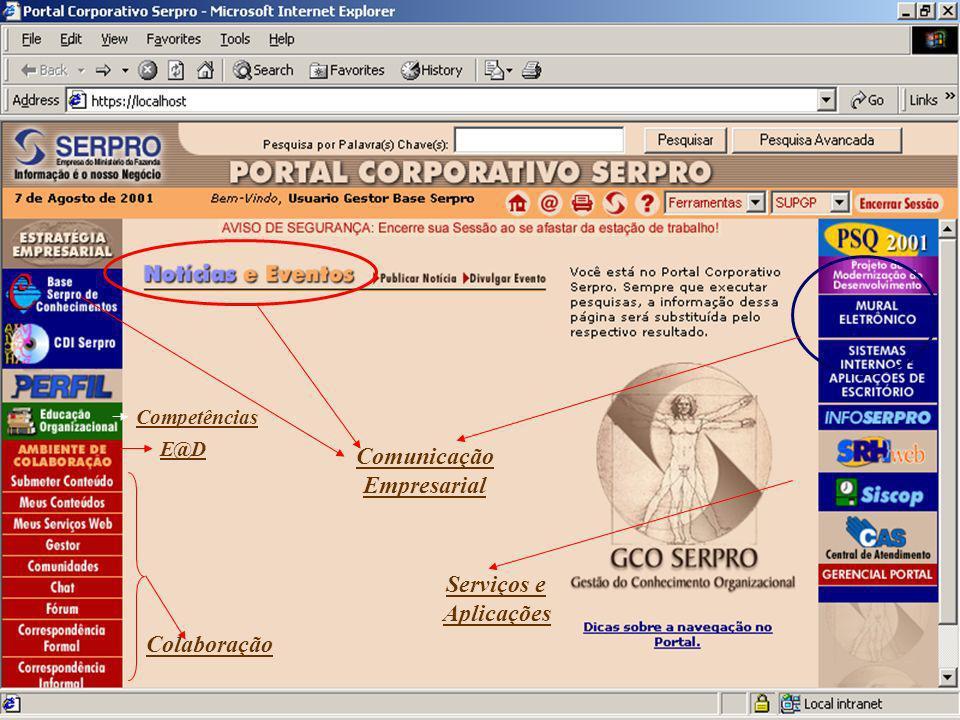 Comunicação Empresarial Serviços e Aplicações Colaboração E@D Competências