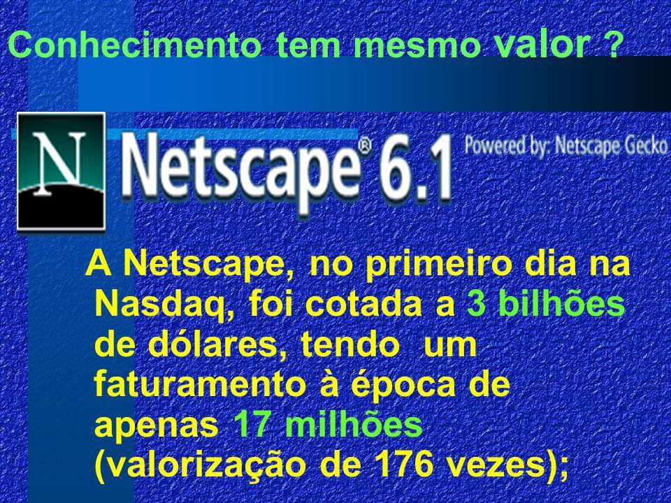 A Netscape, no primeiro dia na Nasdaq, foi cotada a 3 bilhões de dólares, tendo um faturamento à época de apenas 17 milhões (valorização de 176 vezes);