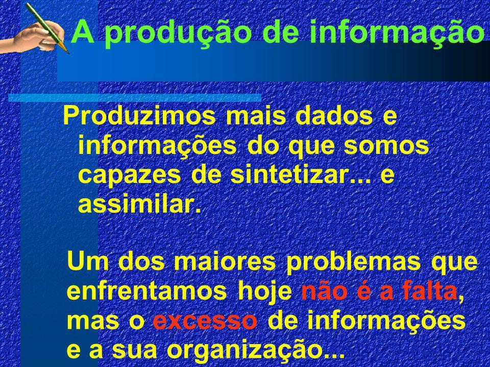 A produção de informação Produzimos mais dados e informações do que somos capazes de sintetizar...