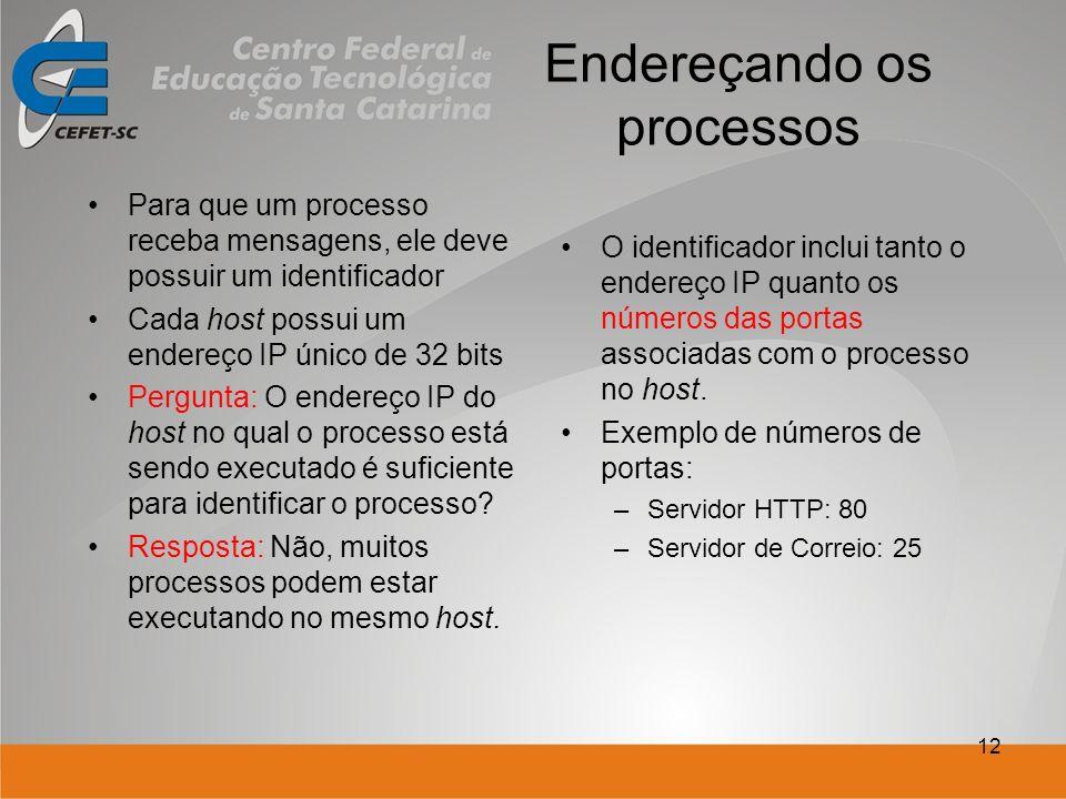 12 Endereçando os processos Para que um processo receba mensagens, ele deve possuir um identificador Cada host possui um endereço IP único de 32 bits Pergunta: O endereço IP do host no qual o processo está sendo executado é suficiente para identificar o processo.