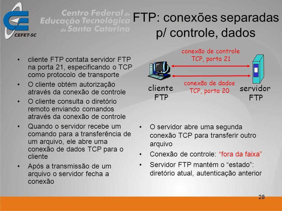 28 FTP: conexões separadas p/ controle, dados cliente FTP contata servidor FTP na porta 21, especificando o TCP como protocolo de transporte O cliente obtém autorização através da conexão de controle O cliente consulta o diretório remoto enviando comandos através da conexão de controle Quando o servidor recebe um comando para a transferência de um arquivo, ele abre uma conexão de dados TCP para o cliente Após a transmissão de um arquivo o servidor fecha a conexão O servidor abre uma segunda conexão TCP para transferir outro arquivo Conexão de controle: fora da faixa Servidor FTP mantém o estado: diretório atual, autenticação anterior cliente FTP servidor FTP conexão de controle TCP, porta 21 conexão de dados TCP, porta 20