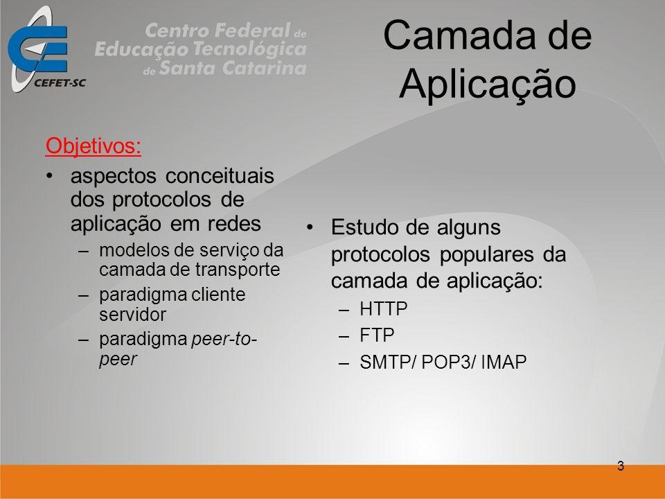 3 Camada de Aplicação Objetivos: aspectos conceituais dos protocolos de aplicação em redes –modelos de serviço da camada de transporte –paradigma cliente servidor –paradigma peer-to- peer Estudo de alguns protocolos populares da camada de aplicação: –HTTP –FTP –SMTP/ POP3/ IMAP