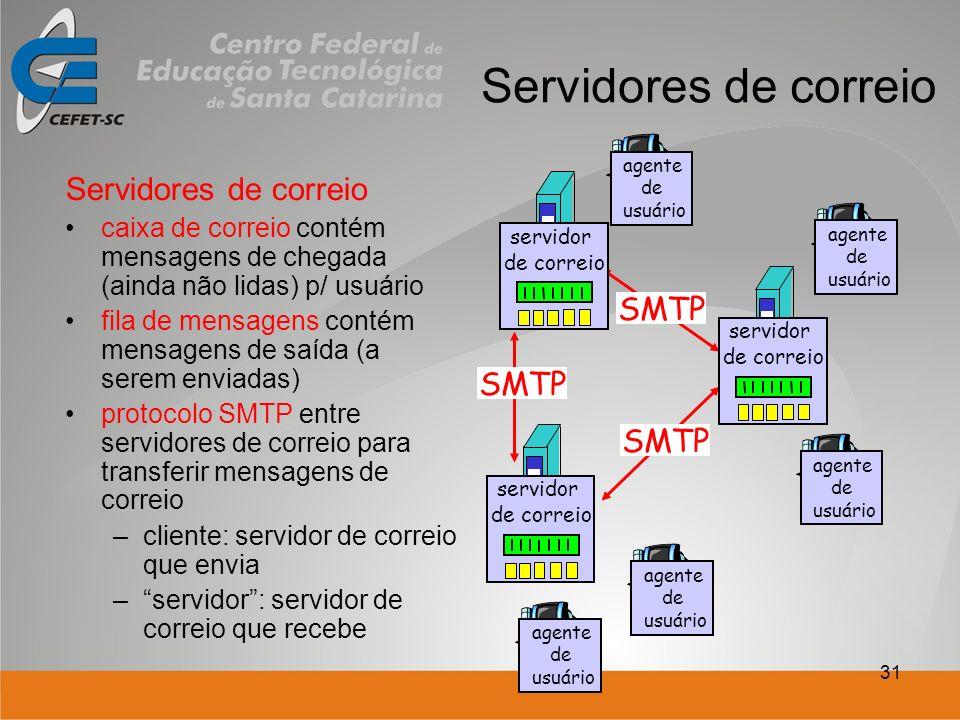 31 Servidores de correio caixa de correio contém mensagens de chegada (ainda não lidas) p/ usuário fila de mensagens contém mensagens de saída (a serem enviadas) protocolo SMTP entre servidores de correio para transferir mensagens de correio –cliente: servidor de correio que envia –servidor: servidor de correio que recebe servidor de correio agente de usuário SMTP agente de usuário servidor de correio